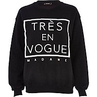 Black tres en vogue madame sweatshirt