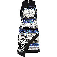 Blue floral stripe print wrap bodycon dress