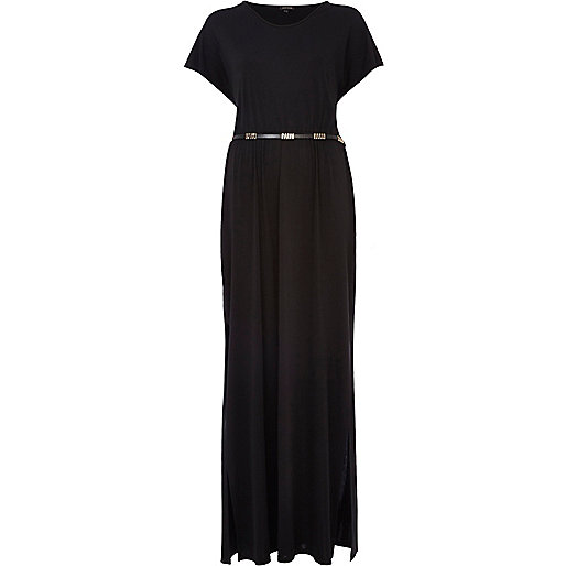 Black V neck side split maxi dress