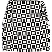 Black and white square print mini skirt