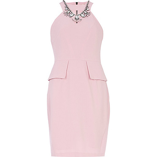 Light pink necklace trim peplum pencil dress