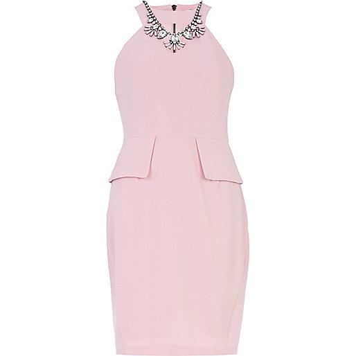 Light pink necklace trim peplum pencil dress