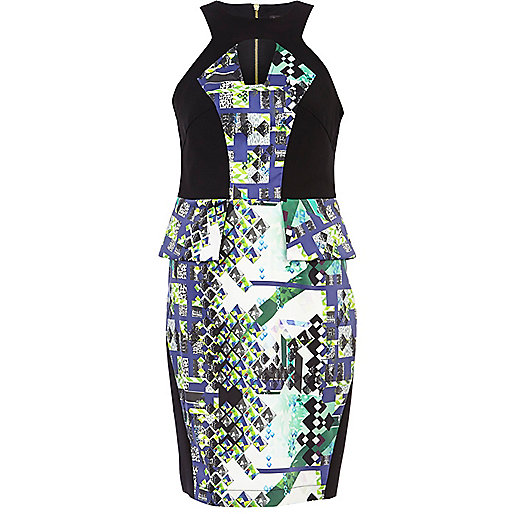 Black abstract print panel peplum dress