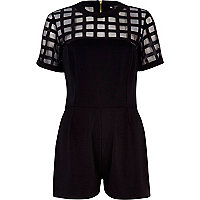 Black caged mesh yoke playsuit
