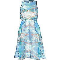 Blue abstract chiffon overlay prom dress