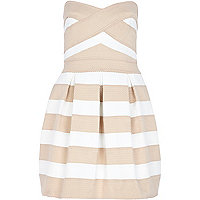 Light pink stripe bandeau prom dress