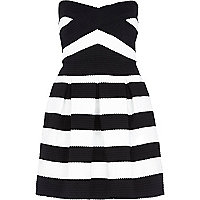 Black and white stripe bandeau prom dress