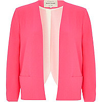 Pink textured cross back boxy jacket