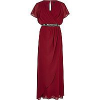 Dark red embellished waist draped maxi dress