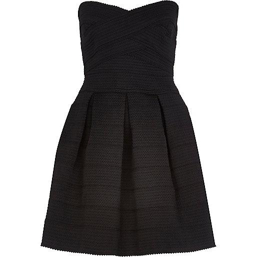 Black bandage bandeau prom dress