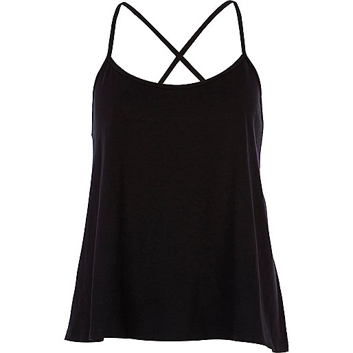 Black cross back cami top