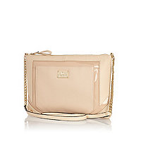 Cream woven cross body bag
