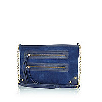 Navy blue suede cross body bag