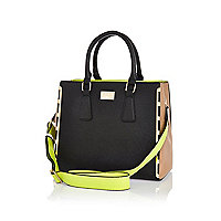 Black contrast panel neon strap tote bag