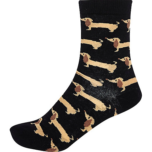Black sausage dog socks
