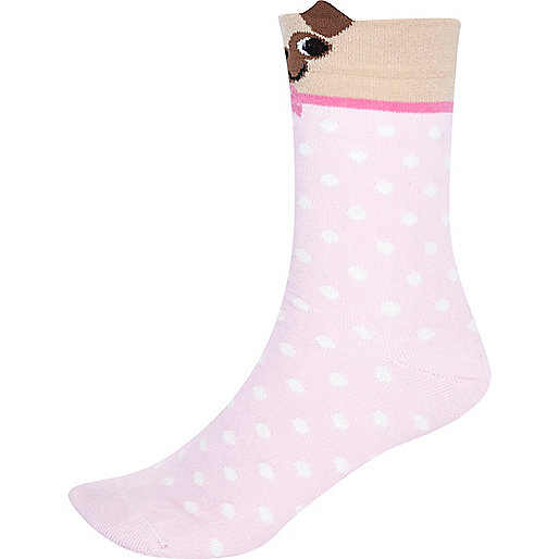 Pink polka dot pug ears socks