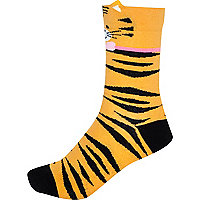 Orange tiger ears socks