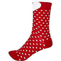Red heart trim ankle socks