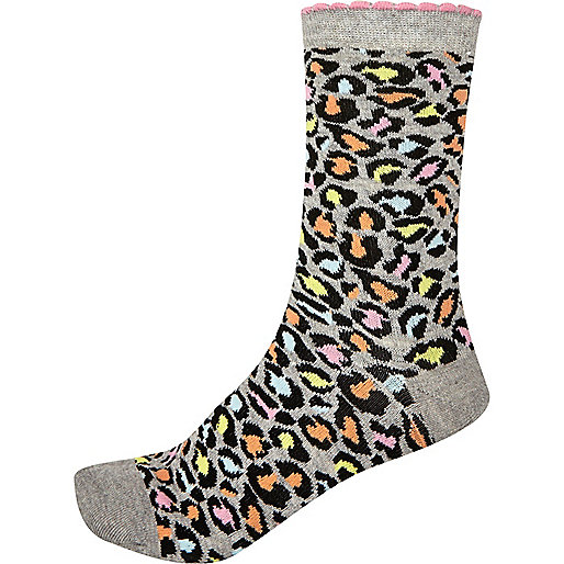 Grey multicoloured leopard print socks