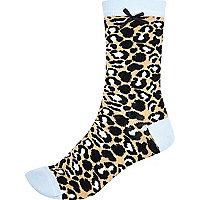 Beige leopard print contrast trim socks