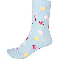 Light blue lollipop print socks