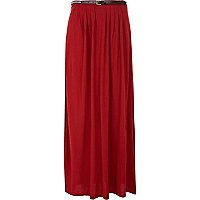 Dark pink split leg belted maxi skirt