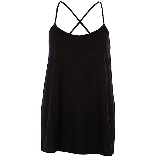 Black longline cross back cami top