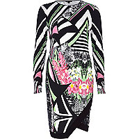 Black abstract print wrap front dress