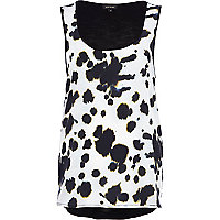 Cream blurred spot print woven front vest