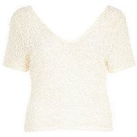 Cream fluffy V neck top