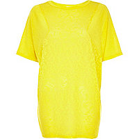 Yellow burnout pattern oversized t-shirt
