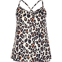 Beige leopard print cross back cami top