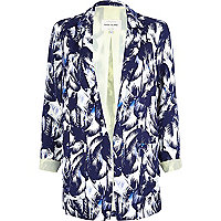 Blue palm print relaxed blazer