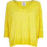 Yellow marl split back linen top