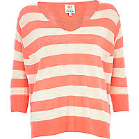 Orange stripe split back linen top