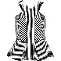 Black and white stripe racer front peplum top