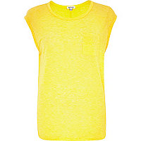 Yellow wool-blend tank top