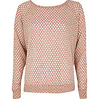Pink polka dot bow back slouchy top