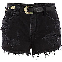 Black belted high waisted ripped denim shorts