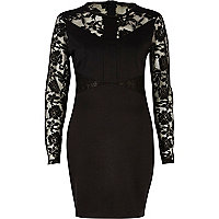 Black lace panel bodycon dress