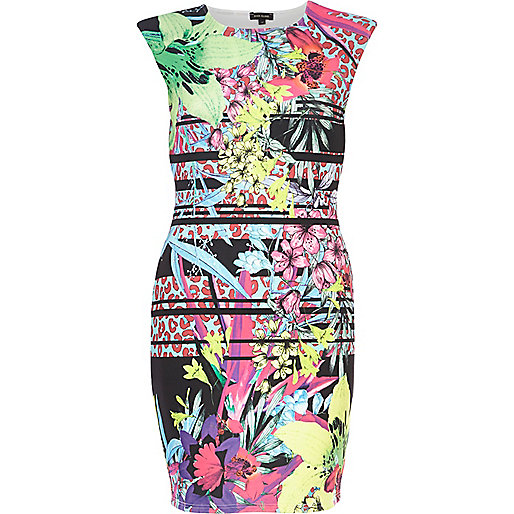 Pink floral mixed print bodycon dress