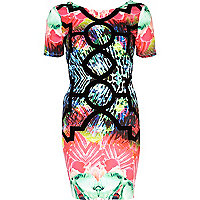 Pink flocked abstract print bodycon dress