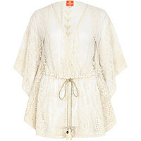 Cream Pacha mesh embroidered playsuit