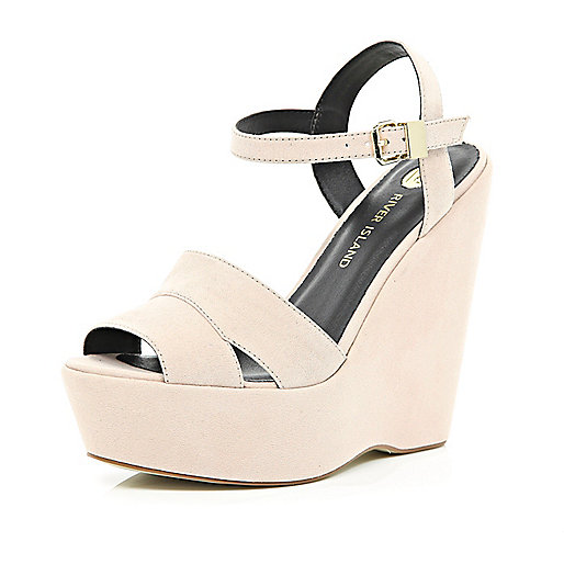 Light pink wedge sandals