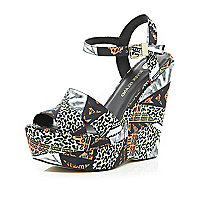 Black mixed animal print wedge sandals