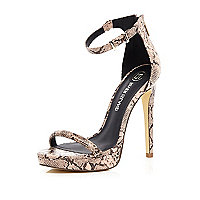 Beige snake platform barely there sandals