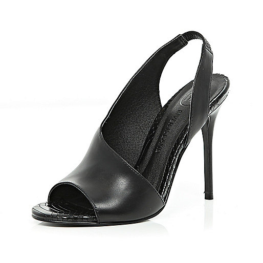 Black asymmetric sling back sandals