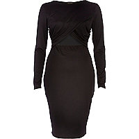 Black wrap front cut out bodycon dress