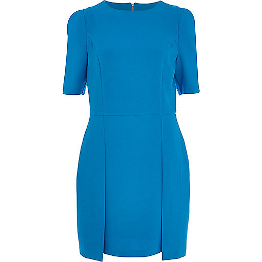 Blue stepped hem shift dress