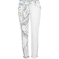 Light wash embellished Daisy slim jeans
